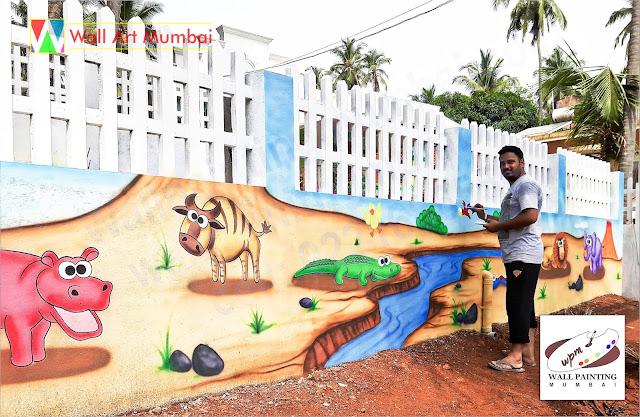 Outdoor Play School Wall Mural, Play School Wall Painting, Wall Art Mumbai