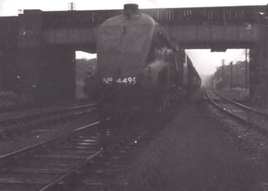 """Golden Fleece arriving at Brookmans Park station - image at 1'02"""" in video below Screen grab courtesy of the Imperial War Museum"""