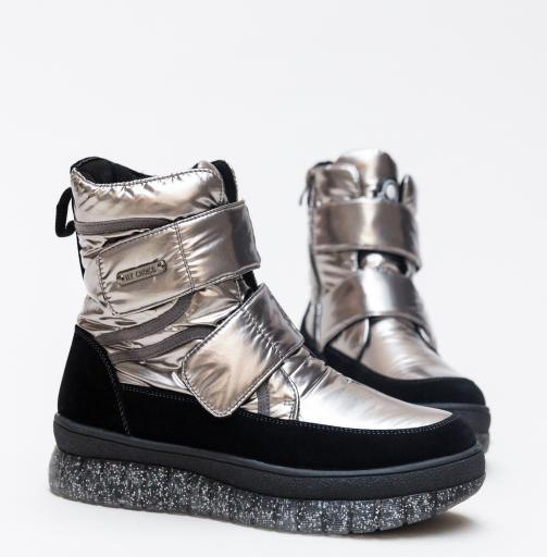 Ghete fashion la moda inalte argintii cu talpa groasa