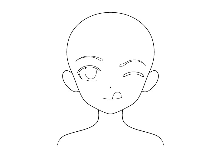 Gadis anime lidah keluar menggambar garis