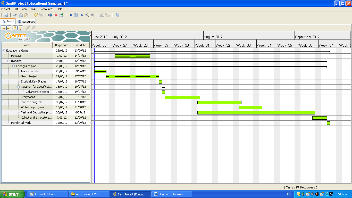 11its 5 education game j ahlborn completion of gantt project