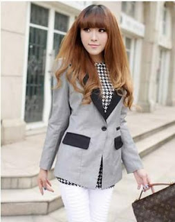 Ladies Long Sleeve Lapel Splicing Blends Suit $22.49