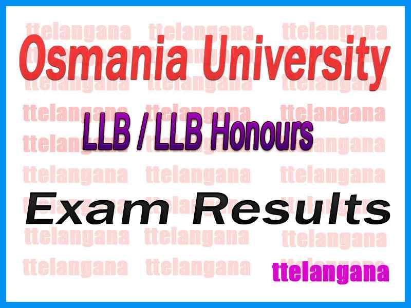 Osmania University OU LLB  LLB (Hons) Exam Results