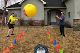 Idaho men pass giant ball 356 times in 3 minutes for world record