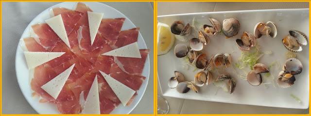 Plato de jamón y queso y plato de berberechos a la plancha