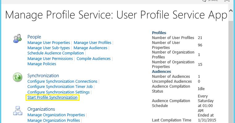 Start SharePoint User Profile Synchronization using
