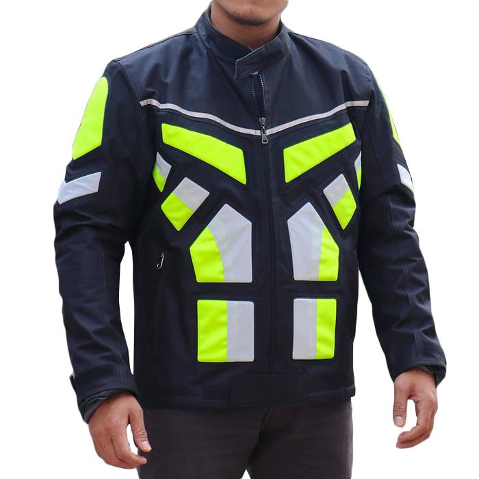 Jaket Riding Touring Motor Pria Polos Motif - Hijau Stabilo