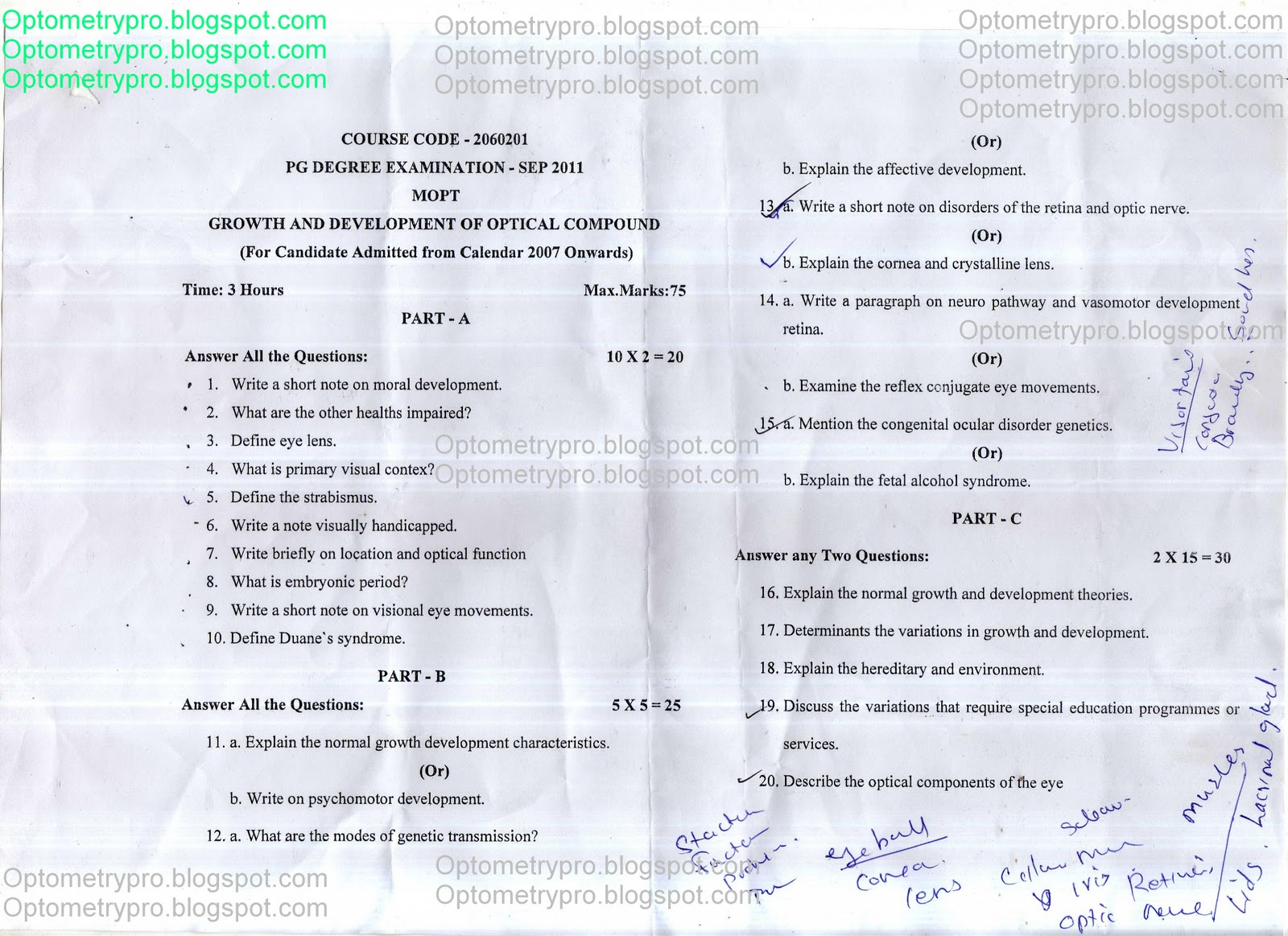Optometry Pro: MSC Optometry Question papers Yr1