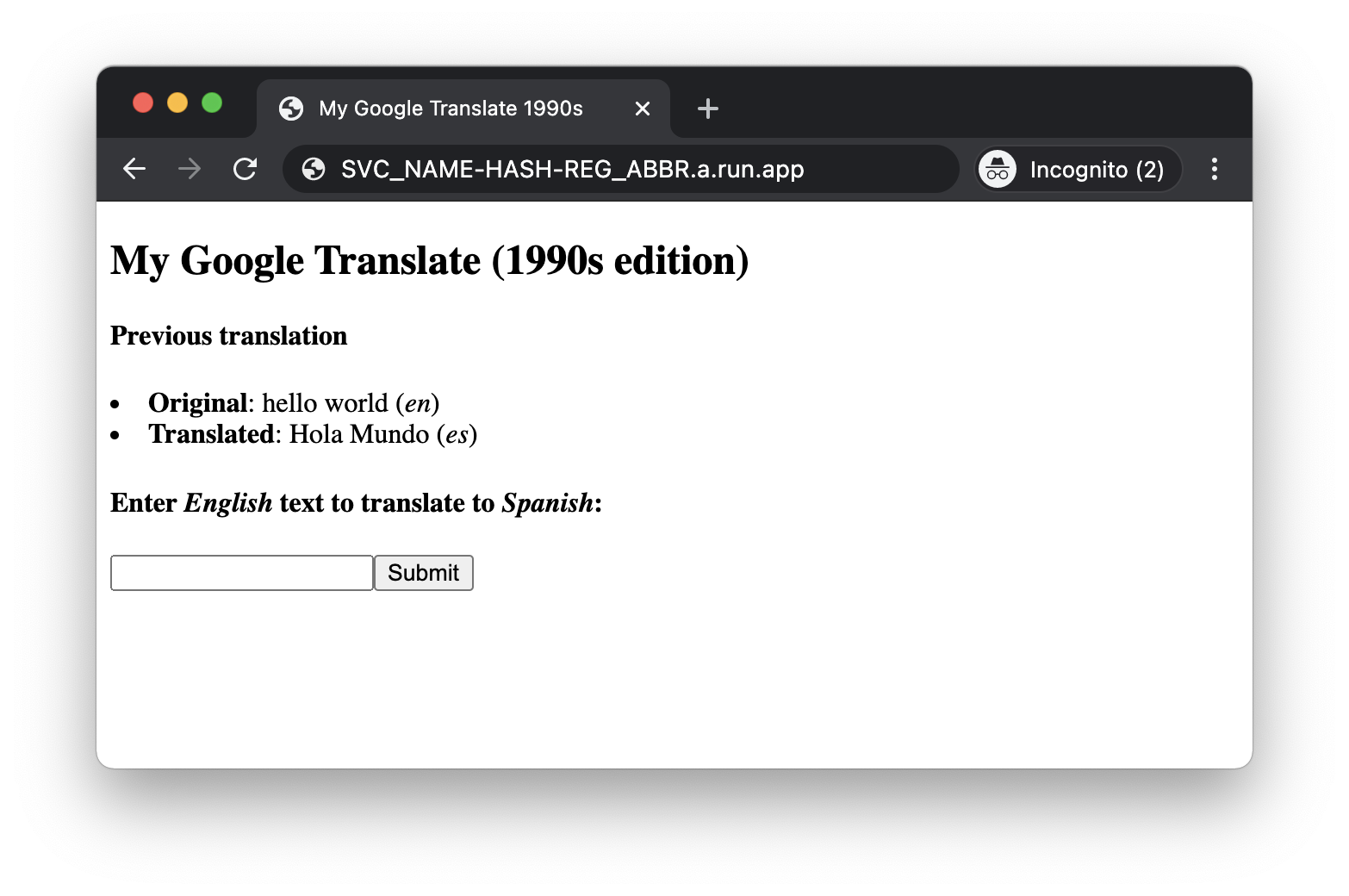 Screenshot of My Google Translate (1990s Edition) in Incognito Window