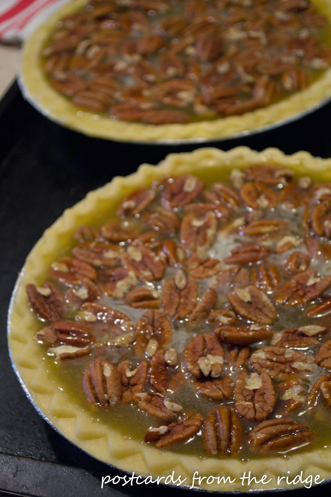 making homemade pecan pies