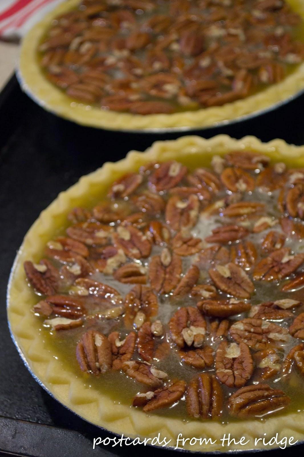 making homemade pecan pies