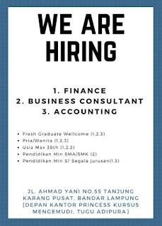 We Are Hiring at Jl. Ahmad Yani Bandar Lampung Terbaru 2018
