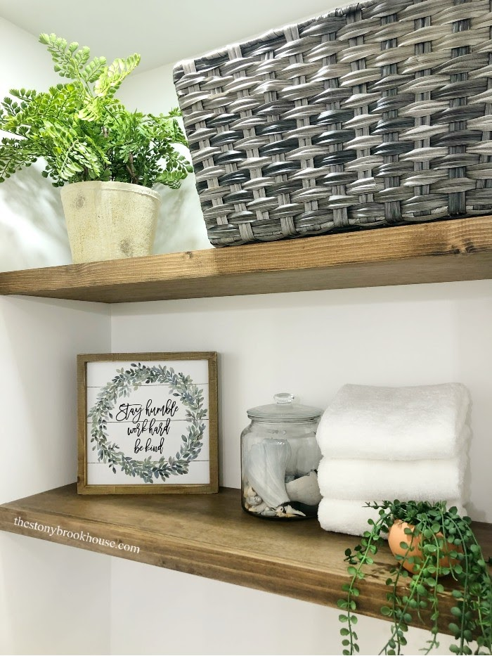 DIY Wall To Wall Floating Shelves Finished