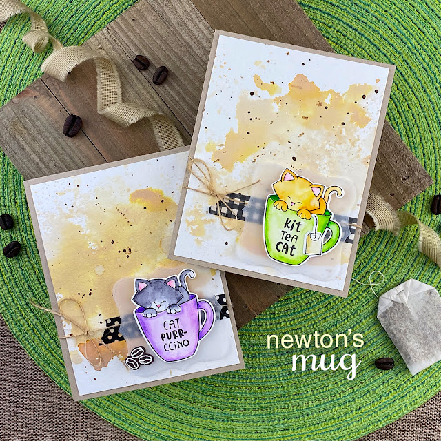 Coffee and Tea mugs cat cards by Jennifer Jackson | Newton's Mug Stamp Set and Frames Squared Die Set by Newton's Nook Designs