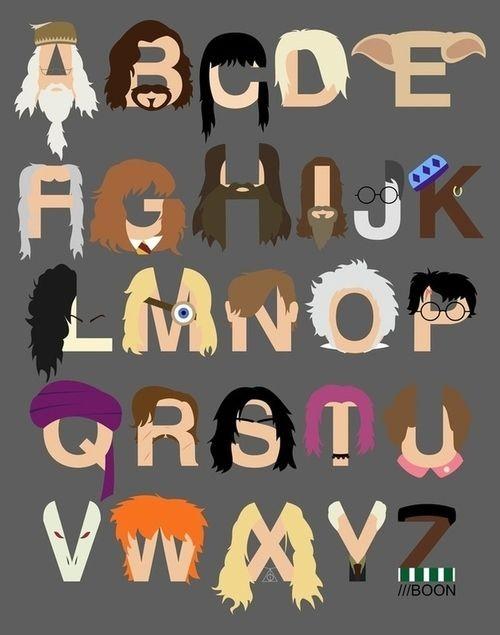 Abecedario de la A a la Z de los Personajes de Harry Potter. Harry Potter Character Letters.
