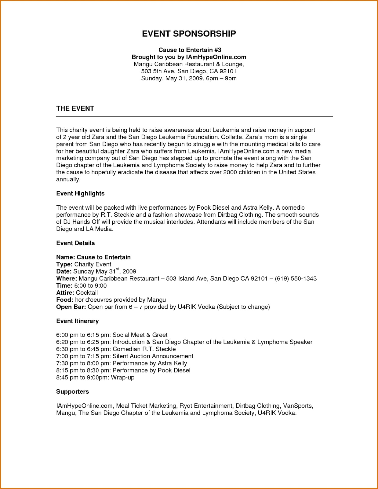 Event Proposal Template Free Download - Excel Template