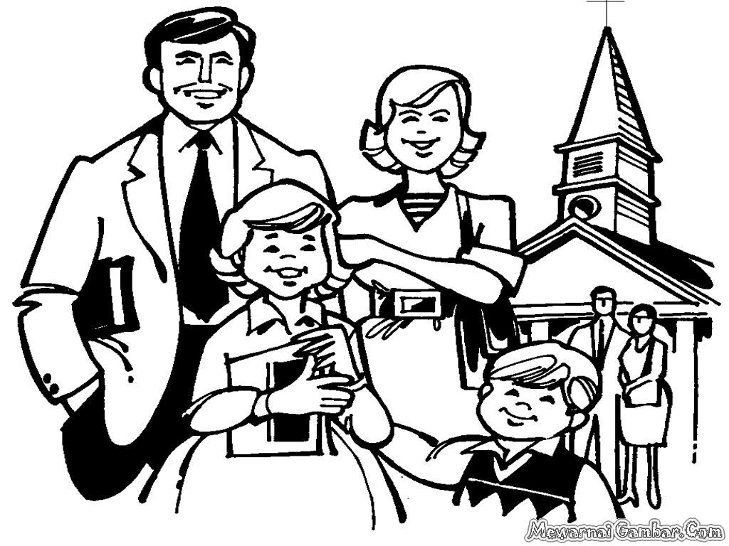 Daftar Mewarnai Gambar Keluarga Kristen