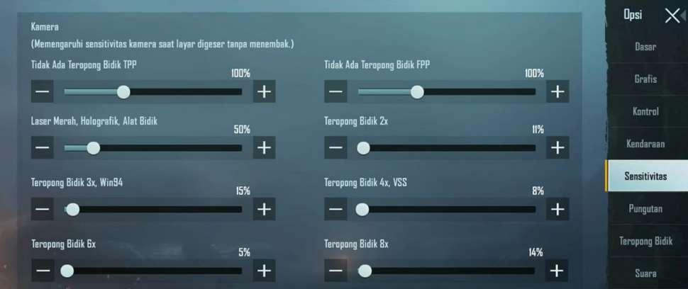 Cara setting Sensitivitas PUBG Mobile di Hp Redmi Note 9 Pro.