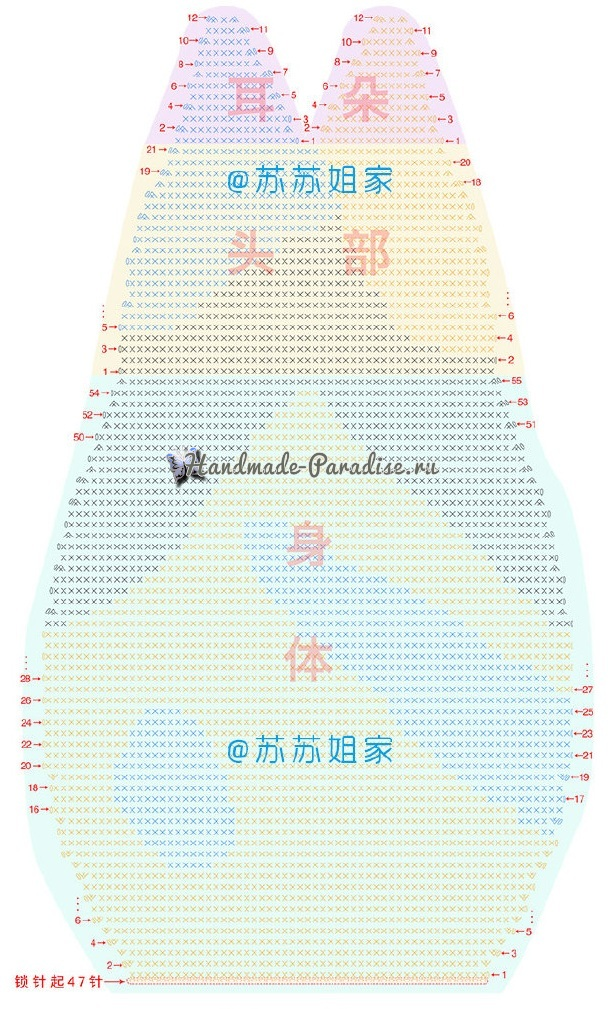 Схема вязания задней части