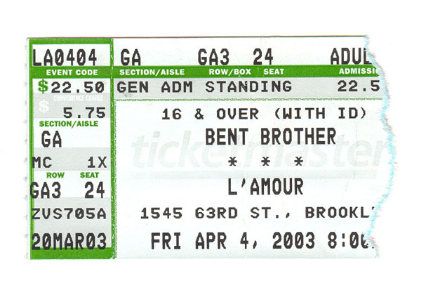 Bent Brother ticket stub (Twisted Sister)