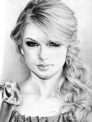 Imagen o Dibujo de taylor swift retrato a lápiz de famosas