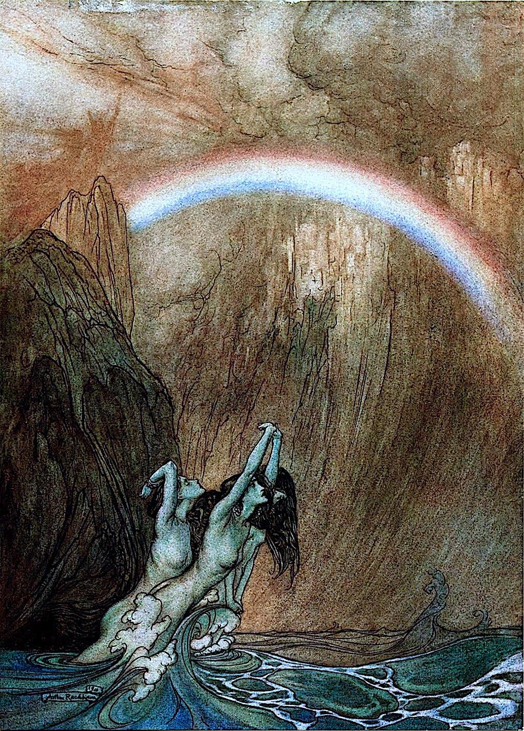 an Arthur Rackham illustration of mermaids