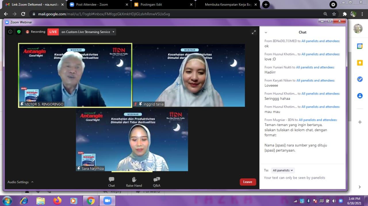 webinar yang diadakan oleh Deltomed dan Komunitas Ibu-ibu Doyan Nulis
