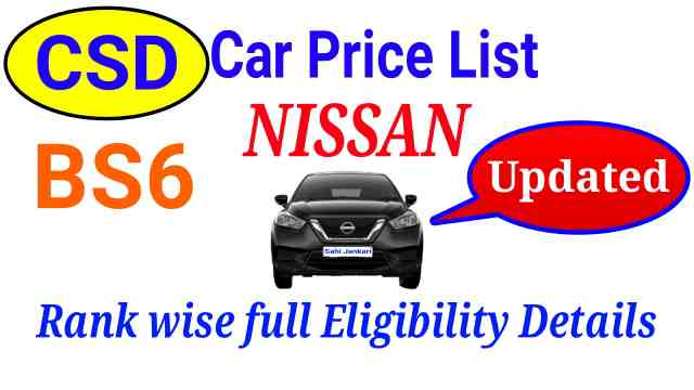 CSD Car Price List 2021 Nissan Delhi NCR