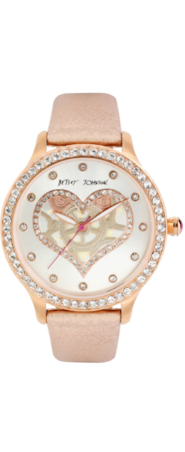 Betsey Johnson  Metallic Rose Gold Leather Strap Watch