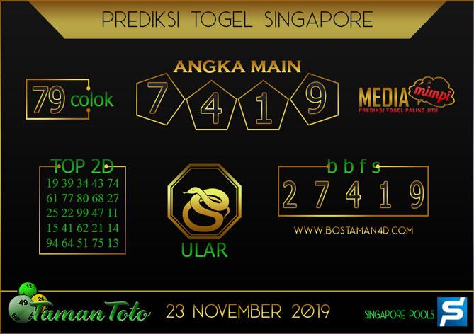 Prediksi Togel SINGAPORE TAMAN TOTO 23 NOVEMBER 2019