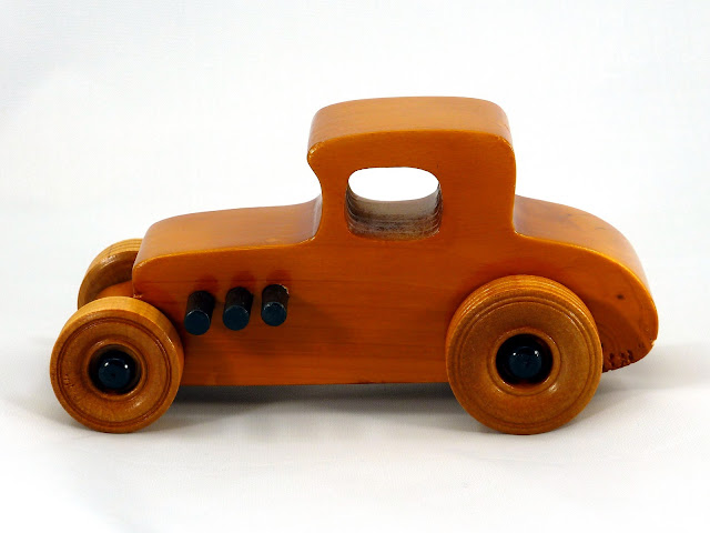 Left Side  - Wooden Toy Car - Hot Rod Freaky Ford - 27 T Coupe - Pine - Amber Shellac - Black Hubs