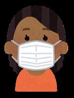 マスクを付けた人のイラスト(黒人女性)