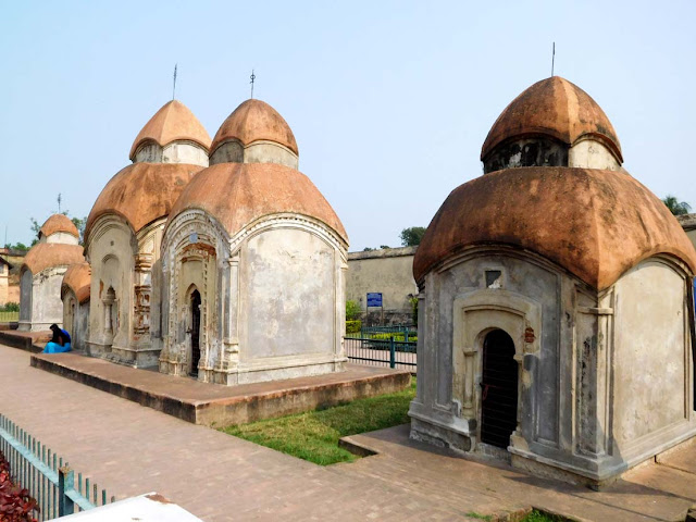 A row of five brick-built at-chala temples dedicated to Lord Shiva, Kalna Rajbari Temple complex, West Bengal