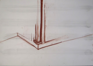 Shop corner 5. red chalk and graphite on paper