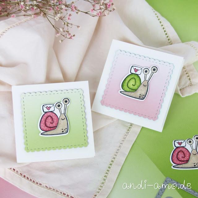Stampin Up Schneckenpost mit Stanzformen Schnecke Minikarten