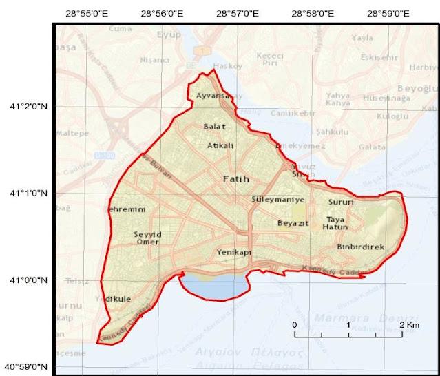 خريطة منطقة الفاتح اسطنبول