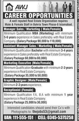 AWJ Marketing Pvt Limited Jobs 2020 in Islamabad