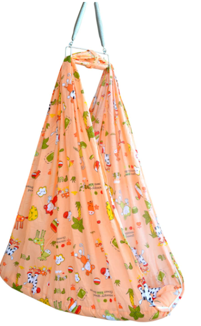 Younique Baby Cradle/Baby Jhula Swing/Baby Bed/Baby Bedding Set with Mosquito Net and Spring Set (0-18 Months Baby) (Vibe Orange)