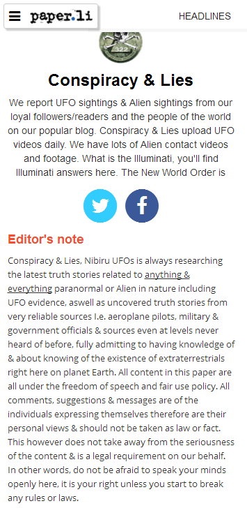Conspiracy & Lies brand new funky good newspaper on UFOs & Aliens