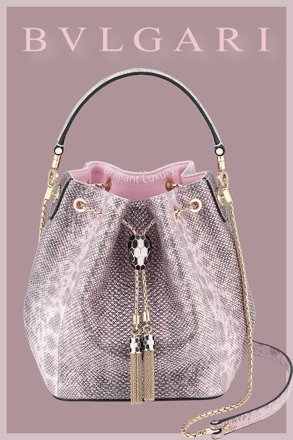 Bvlgari Serpenti Forever bucket bag in rosa di francia metallic karung skin #brilliantluxury