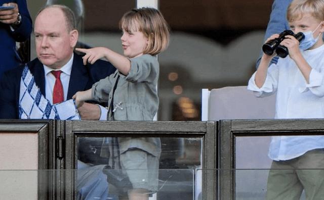 Princess Gabriella attended the Diamond League Meeting Herculis EBS 2021 at the Louis II Stadium. Jacadi khaki cotton shirt and shorts