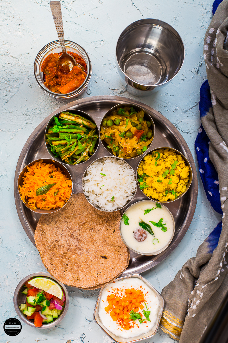 Everyday Gujarati Thali is a quintessential example of what a balanced meal looks like. A right serving of carbohydrates to the right amount of protein and fibre. A typical Gujarati thali offers a nutritious yet delicious and satisfying food with no frills.