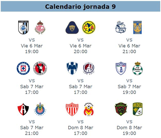 Calendario del clausura 2020 para la jornada 9 futbol mexicano
