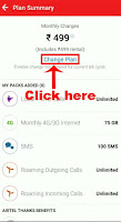 change airtel postpaid plan through app