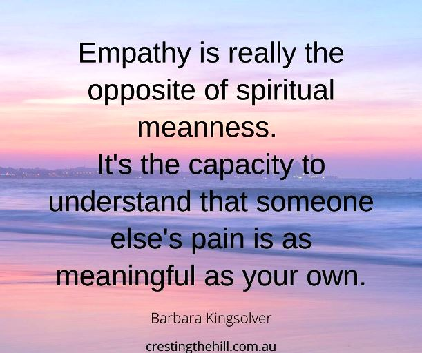 Empathy is really the opposite of spiritual meanness. It's the capacity to understand that every war is both won and lost. And that someone else's pain is as meaningful as your own. Barbara Kingsolver