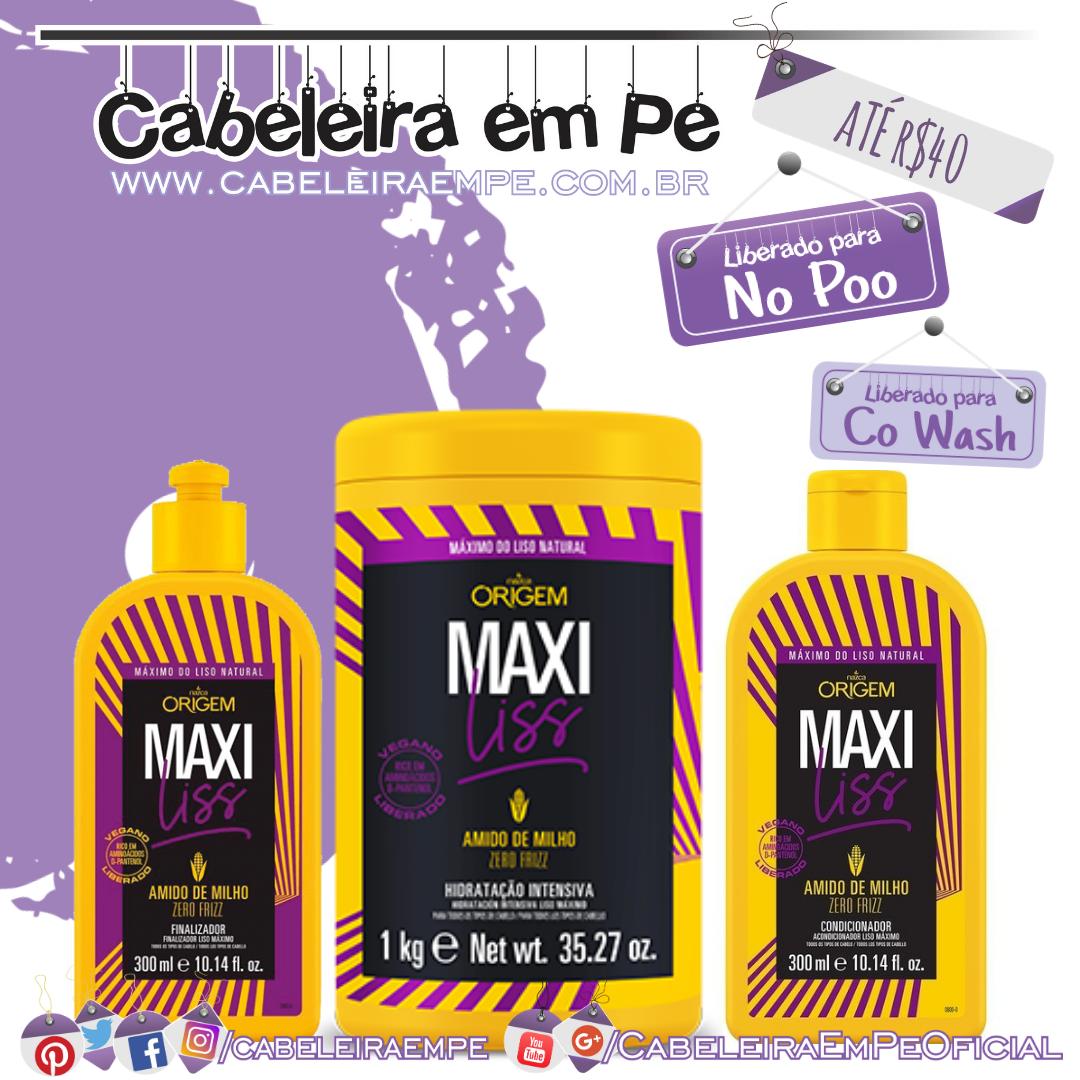 Máscara, Condicionador e Finalizador (liberados para No Poo) Maxi Liss - Nazca - Kit No Poo Barato