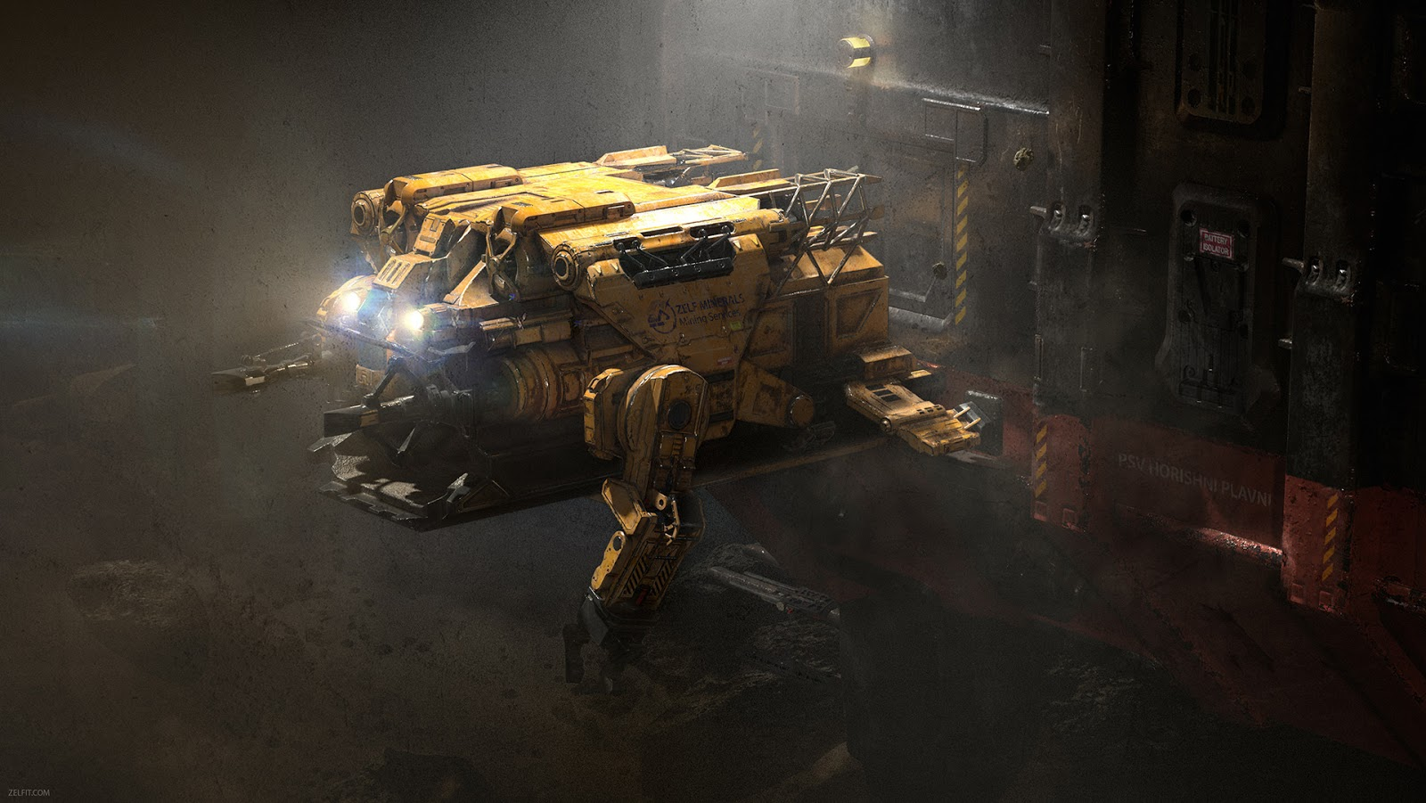 Asteroid Mining Vessel | Redshift Render Blog