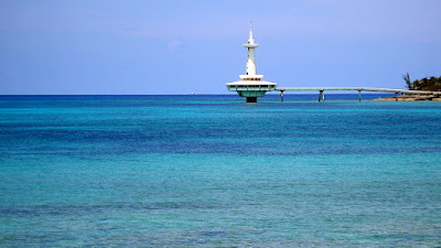 Marine observation tower over the sea.