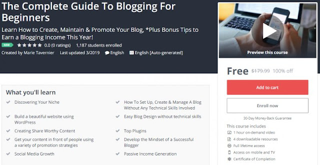 [100% Off] The Complete Guide To Blogging For Beginners| Worth 179,99$