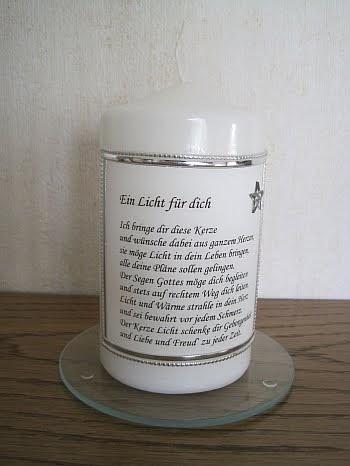 Helgas Kerzen und Kartenzauber Kerze mit schnem Spruch